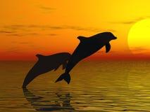 delfiner som simmar två Fotografering för Bildbyråer