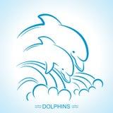 delfiner två Vektorillustrationen av föräldern och behandla som ett barn undervattens- royaltyfri illustrationer