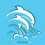 delfiner två Vektorsymbolillustrationen av föräldern och behandla som ett barn under royaltyfri illustrationer