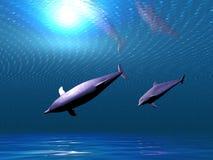 delfiner undersea royaltyfri illustrationer