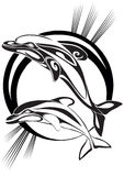 Delfini di accoppiamenti - una siluetta Immagini Stock Libere da Diritti