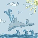 Delfini nell'onda blu del mare Fotografia Stock Libera da Diritti