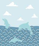 Delfini in oceano royalty illustrazione gratis
