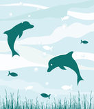 Delfini in oceano illustrazione vettoriale