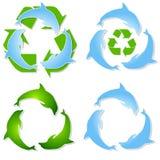 Delfini riciclati verde blu Fotografia Stock