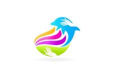 Delfinlogoen, kopplar av, symbolen, spikar, symbolet, brunnsorten, massagen, yoga och sjukvårdbegreppsdesignen royaltyfri illustrationer
