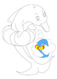 Delfino che colora 7 Fotografie Stock Libere da Diritti