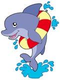 Delfino con l'anello gonfiabile Fotografie Stock