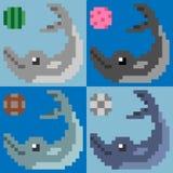Delfino di arte del pixel dell'illustrazione fotografia stock libera da diritti