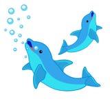 Delfino e mare Immagine Stock