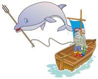 Delfino e pirati Illustrazione Vettoriale