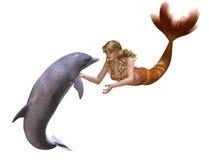Delfino e sirena Fotografia Stock Libera da Diritti