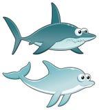 Delfino e squalo. Immagine Stock