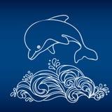 Delfino ed onda di salto disegnati a mano su fondo blu profondo Illustrazione Vettoriale