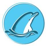 Delfino in mare Illustrazione di simbolo di Teeth Fotografia Stock