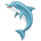 Delfino sveglio allegro su fondo bianco Immagini Stock