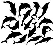 Delfinsilhouette royaltyfri illustrationer