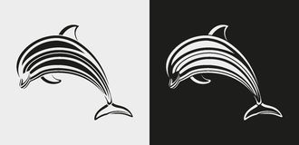 Delfinsymbol vektor illustrationer