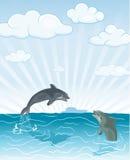 delfinu doskakiwanie royalty ilustracja