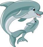 Delfinu dziecko matka i royalty ilustracja