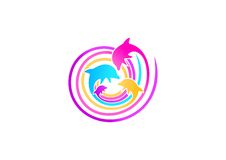 Delfinu loga projekt Obraz Royalty Free