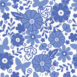 Delft blue Dutch flowers seamless pattern. Vector Delft blue Dutch flowers elegant seamless pattern background with hand painted Dutch floral motives vector illustration