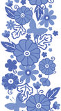 Delft blue Dutch flowers vertical seamless pattern Stock Image