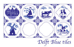 Delft Blue Dutch tiles with folk pictures. In different frames stock illustration
