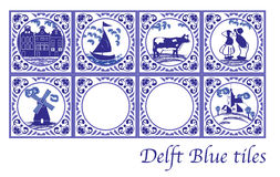 Delft Blue Dutch tiles with folk pictures. Set of Delft Blue Dutch tiles with folk pictures royalty free illustration