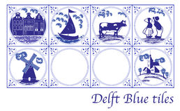 Delft Blue Dutch tiles with folk pictures Stock Photo