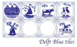 Delft Blue Dutch tiles with folk pictures. Set of Delft Blue Dutch tiles with folk pictures stock illustration