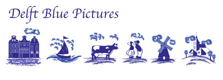 Delft Blue folk pictures. Delft Blue folk isolated pictures royalty free illustration
