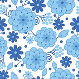 Delft blue Holland flowers seamless pattern. Vector Delft blue Holland flowers elegant seamless pattern background with hand painted Dutch floral motives stock illustration