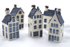 Delft blue houses. Five delft blue original dutch vintage houses isolated on white. Part of a series Stock Photos