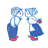 Delft blue kissing pair card Royalty Free Stock Image