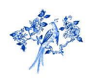 Delft blue motif. Delft blue style watercolour illustration. Traditional Dutch floral motif, paradise bird on a blossoming tree branch, cobalt on white Stock Photo