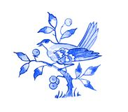 Delft blue motif. Delft blue style watercolour illustration. Traditional Dutch motif with a bird, cuckoo on a tree branch, cobalt on white background. Element Stock Photo