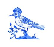 Delft blue motif. Delft blue style watercolour illustration. Traditional Dutch motif with a bird, hoopoe on a tree branch, cobalt on white background. Element Stock Photography