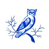 Delft blue motif. Delft blue style watercolour illustration. Traditional Dutch motif with a bird, owl on a tree branch, cobalt on white background. Element for Royalty Free Stock Image