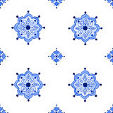 Delft blue style seamless watercolor pattern. Delft blue style seamless pattern. Watercolor vintage filigree cobalt blue ornament for textile, fabric, wallpaper Royalty Free Stock Image