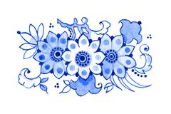 Delft blue motif. Delft blue style watercolour illustration. Traditional Dutch floral motif, blossoming tree branch, cobalt on white background. Element for your Royalty Free Stock Photos