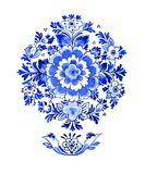 Delft blue motif. Delft blue style watercolour illustration. Traditional Dutch floral motif, flowers in circular rosette pattern, cobalt on white background Royalty Free Stock Image
