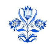 Delft blue motif. Delft blue style watercolour illustration. Traditional Dutch floral motif with tree tulips, cobalt on white background. Element for your design Stock Photography