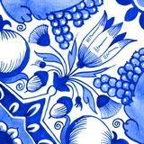 Delft blue motif. Delft blue style watercolour illustration. Traditional Dutch tile, a floral motif with tulips, pomegranates, grape bunches, acorns and Royalty Free Stock Images