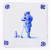 delft blue tile, golf Stock Image