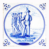delft blue tile, soldiers Royalty Free Stock Photos