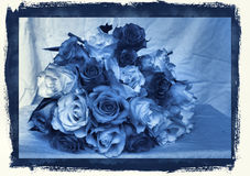 Delft Blue wedding bouquet. Cyanotype photographic reproduction of a very beauriful wedding bouquet with  wonderful roses Royalty Free Stock Photos