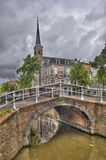 Delft Bridge and Church Stock Photo