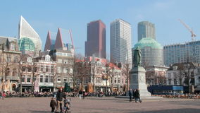 Town square of The Hague, Holland stock footage