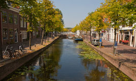 Delft  Canal and Trees Stock Images